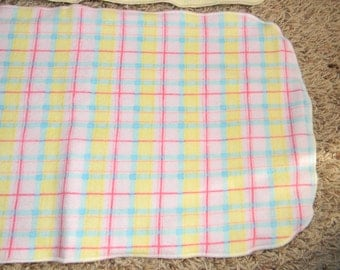 Pink, Blue, and Yellow Plaid Burp Cloth
