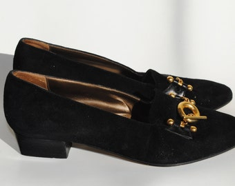 Vintage Jane Shilton Black Suede Pilgrim Loafers with Buckle Size 35
