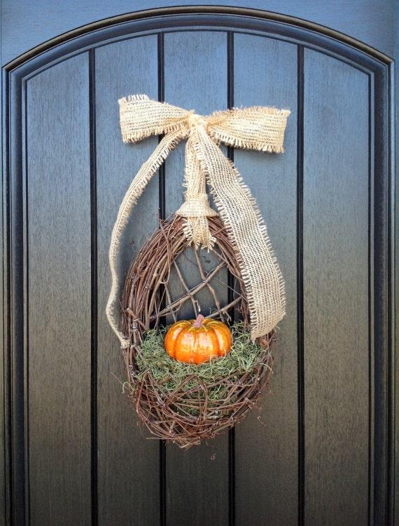 "Fall Wreath Thanksgiving Wreath Grapevine Door Wreath Basket Decor ...""Orange Pumpkin"""