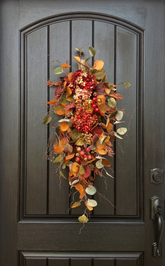 Fall Wreath Autumn Wreath Thanksgiving Teardrop Vertical Door