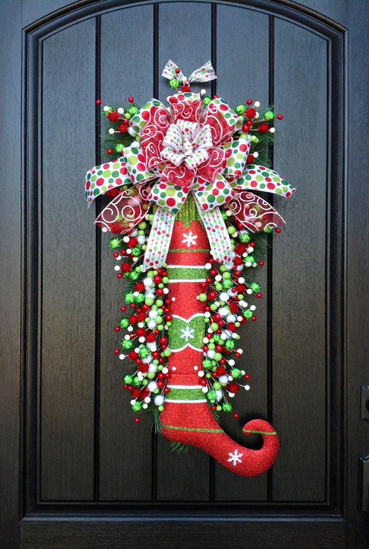 Christmas Wreath Door Wreath Teardrop Vertical Swag