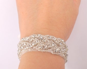 Lisa - Rhinestone and Ribbon Bridal Bracelet