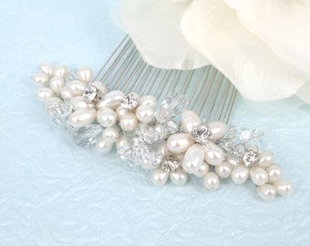 Miranda - Freshwater Pearl,Swarovski Crystal and Rhinestone Bridal Comb