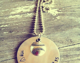 Hand Stamped Aluminum Necklace with My Heart Belongs To My Ball Player