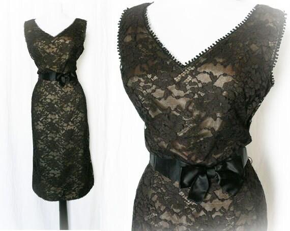 Vintage 50s Dress L Sheer Black Lace Nude Bow Belted