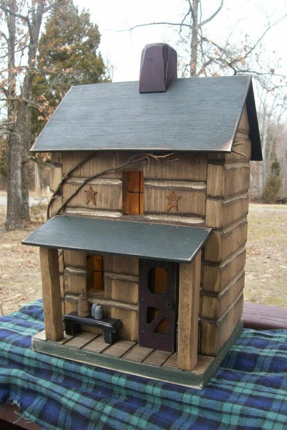 log cabin primitive birdhouse rustic birdhouse rustic On primitive cabin plans