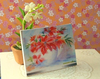 Portrait of Red Lilies  - Framework Shabby Chic Art Print 12th scale for dollhouses