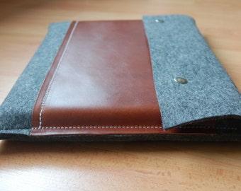 11 inch MacBook case / Macbook Pro 11 Air Case / 11 Macbook Air Bag / Macbook Pro Air - Grey felt & dark brown leather