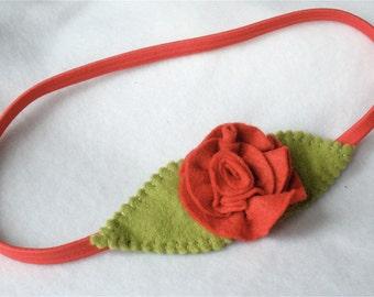 Coral Stretch Elastic Headband, Handmade Felt Flower Hairband,  Coral Rose