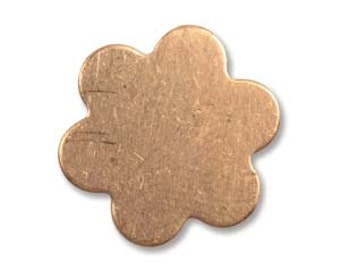 """6 Petal EXTRA Small Copper Flower Blank - 5/8"""" 24 gauge - Pack of 18 pcs - Metal Stamping Blank for Hand Stamped Jewelry Making - DIY - 16mm"""