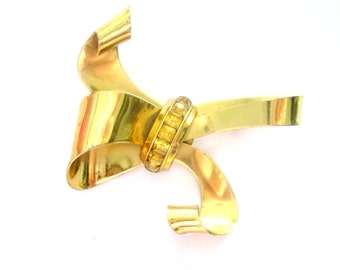 Gold Bow Brooch Pin Coro Sterling Craft Topaz Stones Statement Jewelry