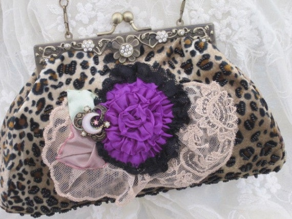LEOPARD PRINT Beaded HANDBAG  -  Lace and Ribbon Flowers and Vitage Jewel  Purse