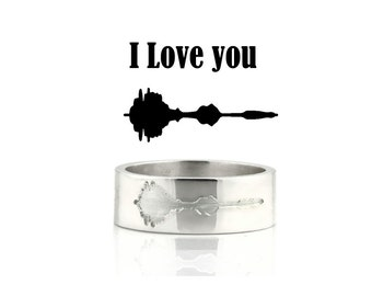 Sound wave Ring - Sterling Silver Engraving Wedding Band with your message, I Love you.