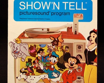 "Vintage ""WALT DISNEY"" Show'N Tell picturesound program set of 4"