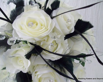 CUSTOM made to order 6 piece SiLK WeDDiNG Bouquets Natural white Roses and Black Feathers elegant Wedding