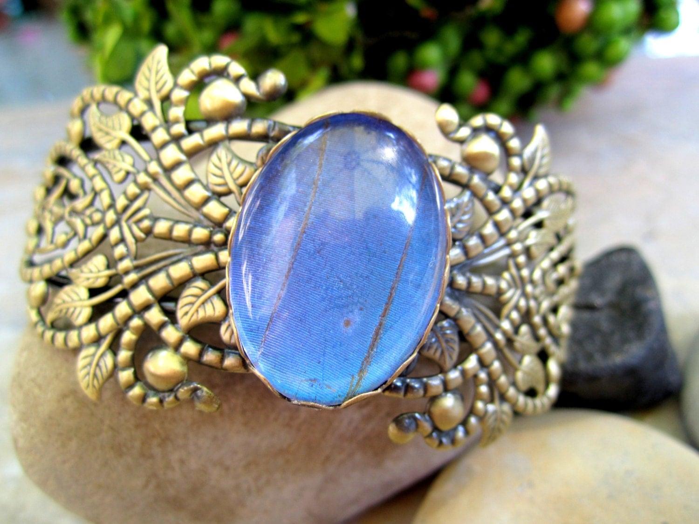 Blue Butterfly Jewelry: Real Butterfly Jewelry Blue Butterfly Antique Brass Cuff