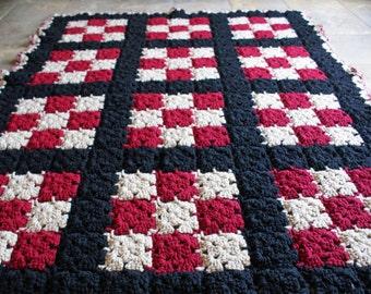 Handmade crochet blanket - burgundy, black, and tan checkerboard - ready to ship