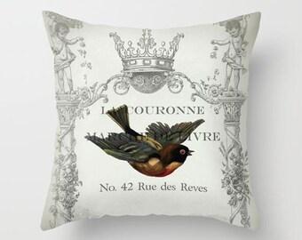 Throw Pillow Cover - Swallow Bird on Vintage Ephemera - 16x16, 18x18, 20x20 - Pillow case Original Design Home Décor by Adidit