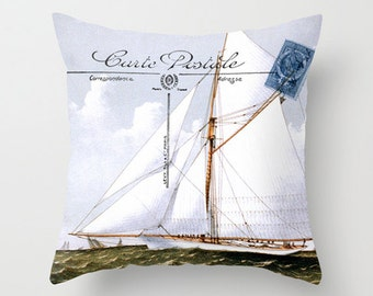 Throw Pillow Cover - White Sailboat on Vintage French Postcard - 16x16, 18X18, 20X20 - Pillow Case Design Home Décor by Adidit