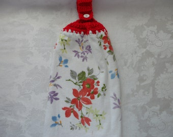 Hanging Double Kitchen Towel Spring Flowers Towel Crochet Hanging Kitchen Towel