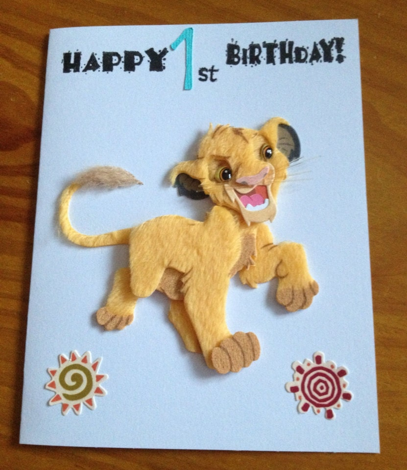 Simba Lion King 1st Birthday Card By DaisyCreationsbyJess