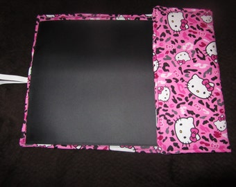 Discontinued Hello Kitty cheetah print on bright pink Traveling chalkboard for kids fold up mat chalkboard