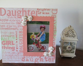5x7 Daughter Themed - Hand Decorated Picture Frame