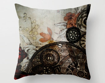 Pillow Cover, Steampunk Photo Pillow, Steampunk Botanical Home Decor, Vintage Clock Parts Floral Pillow, Living Room,Bedroom, 16x16 18x18