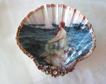 Mermaid On A Rock Medium Shell Jewelry Dish Mermaid Jewelry Dish Mermaid Shell