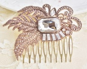 Bridal Rhinestone Hair Comb, Vintage Brooch Comb,Repurposed Glass & Brass,Gold,Crystal, Bridal, Weddings, Shabby Chic