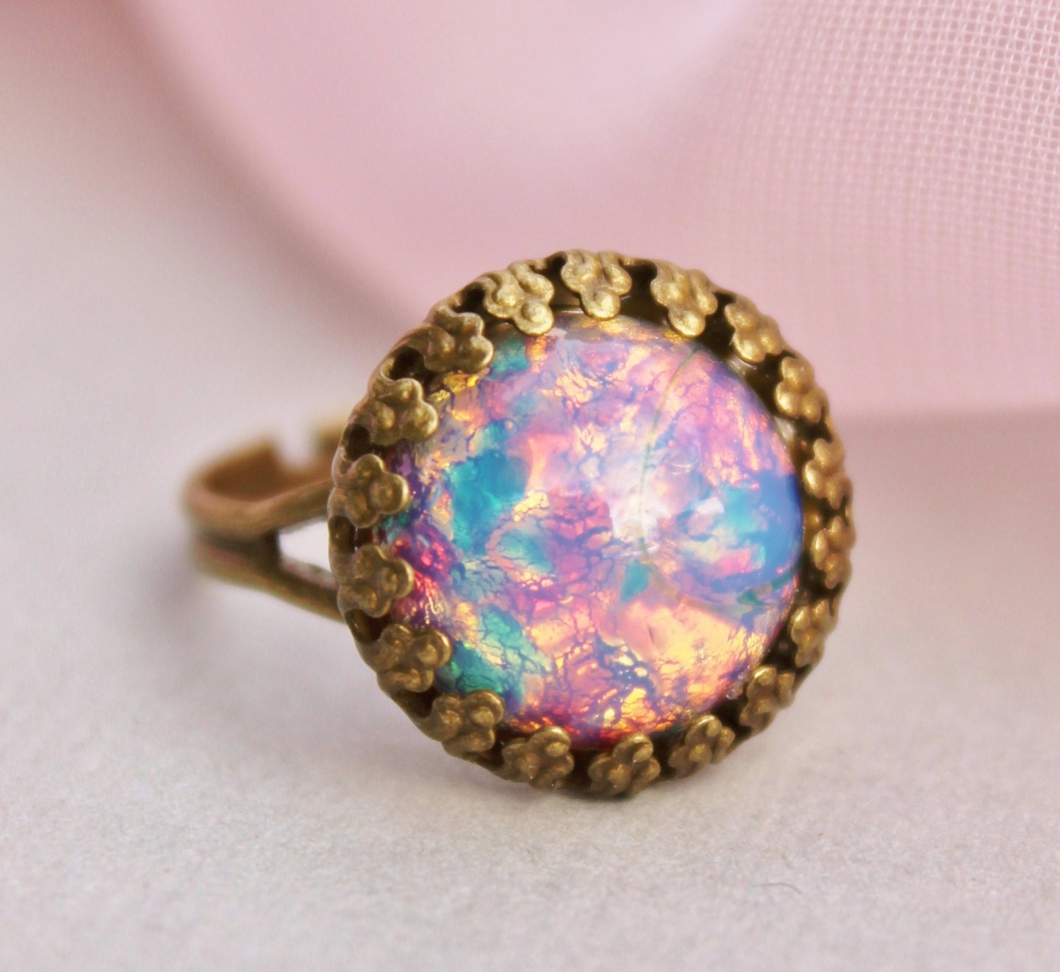 Vintage Fire Opal Ring Harlequin Glass Opal Adjustable Ring