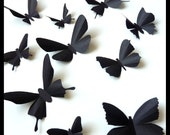 3D Wall Butterflies - 10 Black  Butterfly Silhouettes, Nursery, Home Decor, Wedding