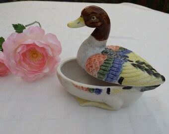 Sale Porcelain jewelry box Duck Figurine, Colorful Figurine ,Home Decor,trinket box, duck box,pottery. Vintage jewelry box.Bird.Duck.Gift