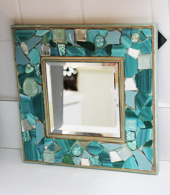 Teal square or diamond shaped mosaic mirror by for Teal framed mirror