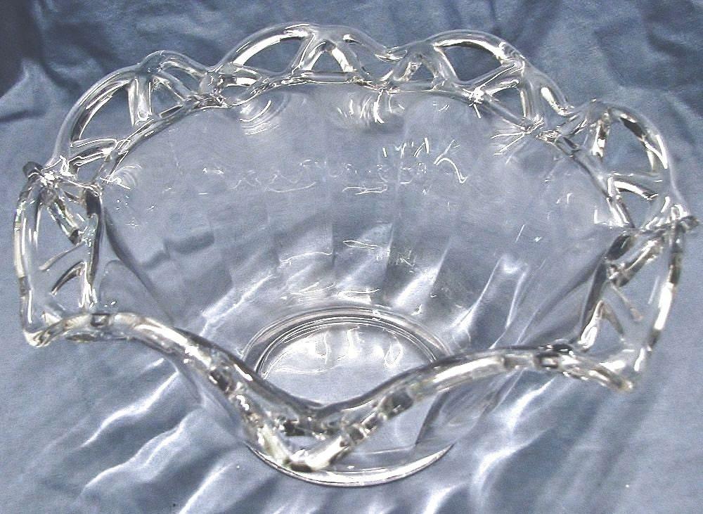 Large Glass Centerpiece Bowls : Vintage large clear glass centerpiece bowl fluted sides