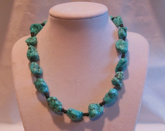 """16 3/4"""" Turquoise Necklace with Black Spacer Beads"""