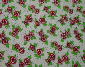 "Vintage Full Cotton Feedsack Tiny Dot Background, Red Flowers, 37 x 42"" of Fabric"