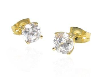 Sparkling Cubic Zirconia Stud Earrings Gold Vermeil 18k 4mm/ 5mm/ 6mm Wedding Braidesmaids Gift jewelry