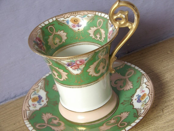 Antique TV Limoges France chocolate cup, vintage French porcelain tea cup and saucer set, Victorian tea set, green tea cup set