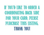Add-on backside back side to invitations and cards or announcements