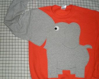 Adult Elephant Trunk sleeve sweatshirt, elephant sweater, elephant jumper, UNISEX adult sizes, Orange