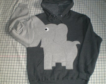 Elephant trunk sleeve, elephant HOODIE, elephant sweatshirt, Charcoal Grey UNISEX small elephant shirt.