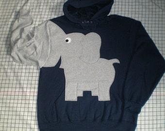 Elephant trunk sleeve HOODIE sweatshirt, sweater, jumper, Navy Blue, UNISEX adult medium