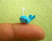 Miniature Crochet Whale Amigurumi -  Mini Plush Blue Whale Dolphin - Made To Order