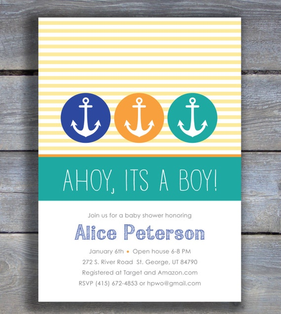 items similar to ahoy it 39 s a boy nautical themed baby shower