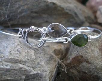 SLYTHERIN inspired set of 3 bangle bracelets - snake, green rhinestone, smoky quartz gemstone
