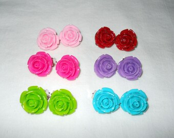 Rose Clip On earrings, various colors