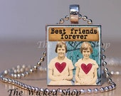 Scrabble Tile Pendant  -Best Friends Forever - Altered Art- Scrabble Necklace-Free Silver Plated Ball Chain (ALT48)