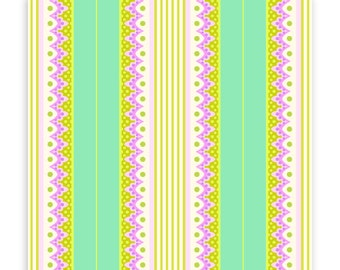 Carousel Stripe in Turquoise, 1 Yard, Heather Bailey, Lottie Da, Quilting Cotton