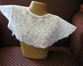 Embroidered Voile Collar with  Pearl Accents- Vintage